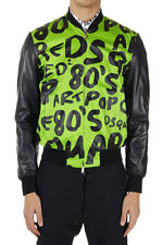 DSQUARED2 Dsquared² Men Pop art printed cotton and leather jacket Made in Italy