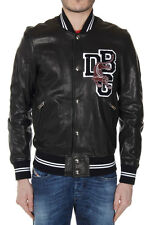 DIESEL BLACK GOLD New Black Leather LAVERSITY Jacket with Embroidery Original