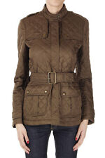 BURBERRY BRIT Women Green MILITARY KHAKI Quilted Jacket Coat with Belt New