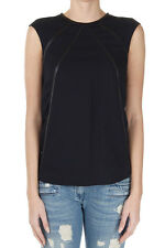PRADA Women New Black Crewneck Sleeveless Top with Leather Details Made in Italy