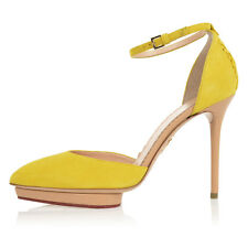 CHARLOTTE OLYMPIA Women New Yellow Suede Leather Heels Pumps Shoes