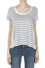 SACAI LUCK Women Grey Striped T-Shirt with Mesh and Satin Inserts Made in Japan