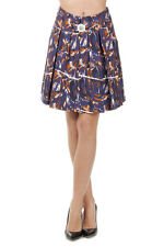 KENZO PARIS Women New Multicolor Abstract pattern Pleated Skirt with Belt Pocket