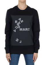 MARC BY MARC JACOBS Women Black Stretch Cotton Logo Printed Sweater New