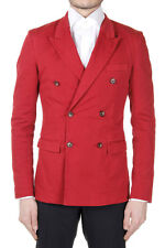 DOLCE & GABBANA Men New Red Cotton Stretch Double Breasted Blazer Jacket Made It