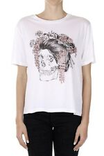 ALEXANDER MCQUEEN Women White Cotton Printed T-Shirt Made in Italy
