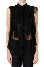 ALEXANDER MCQUEEN Women Black Silk Blouse with Rouches Made in Italy