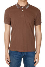 BRUNELLO CUCINELLI Men Brown Slim Fit Short Sleeved Polo Shirt Made in Italy