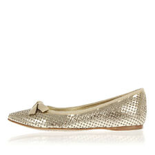 MIU MIU Women Gold Studded Leather Flat Shoes Made in Italy New