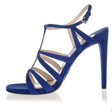 PRADA Women Bluette Suede Cage Sandals Shoes Heel Made in Italy NWT $659