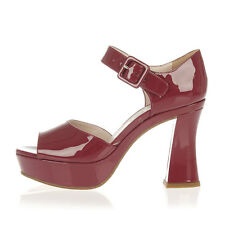 MIU MIU Women Red Patent Leather Sandals with Heel Made in Italy New