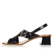 PRADA Women New Black Brushed Leather Sandals Buckle Shoes Made in Italy NWT