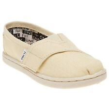 New Infants Toms Natural Classic Canvas Trainers Velcro