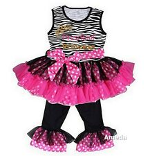 Preschool Princess Zebra Pink Polka Dots Ruffled Top Pants Back To School Outfit