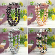 5 COLOR 2 ROWS 8-9MM WHITE BLACK PINK ROUND CULTURED PEARL BRACELET