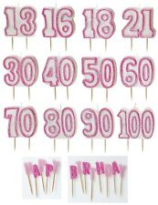 PINK GLITZ - GLITTER MOULDED CAKE CANDLE (Birthday Party Decorations/Girl)