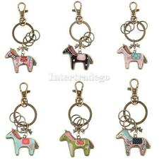 Creative Cute Horse Charm Bronze Key Ring with Split Ring Lovely Women Accessory