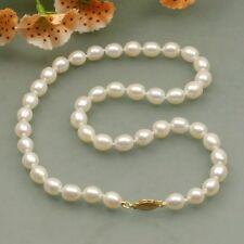 s126 free shipping AA 8-9mm pink white fresh water cultured oval pearl necklace