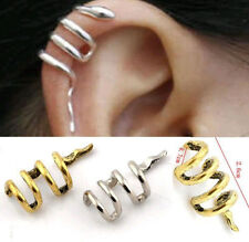 Vintage Gothic Punk Snake Earring Cartilage Ear Cuff Clip Wrap Stud Earrings SS