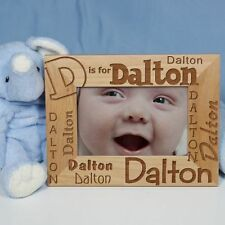 Personalized Childs Name and Initial Picture Frame Engraved Alphabet Photo Frame