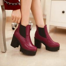 Womens Goth Chunky High Heels Pull On Ankle Boots Shoes Round Toe Platform Pumps