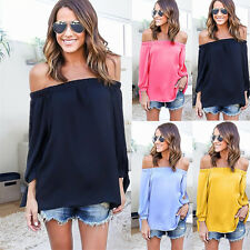 Sexy Women Off Shoulder Casual Loose Long Sleeve Strapless T-Shirt Tops Blouse