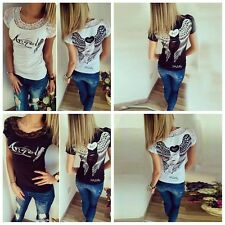 Sexy Women Cotton Angel Wings Hollow Short Sleeve Tops T-Shirt Casual Blouse