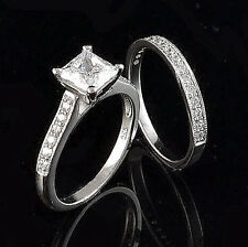 USA TOP GRADE 1CT PAVE PRINCESS CUT SIMULATED DIAMOND SOLITAIRE WEDDING RING SET