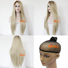 Long Straight Mixed Light Blonde Women Heat Resistant Hair Lace Front Wig Costum