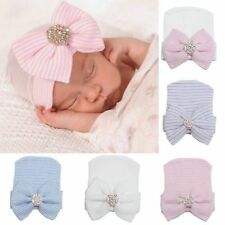 Comfy Newborn Baby Infant Girl Toddler Bowknot Diomand Cap Warm Beanie Hat CHI