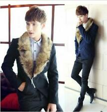 New Stylish Boys Mens Detachable Fur Collar Slim Fit Korean Short Jackets Coats