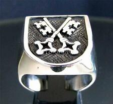 STERLING SILVER SIGNET RING TWO CROSSED SKELETON KEYS MEDIEVAL ANTIQUED ANY SIZE