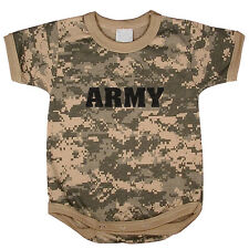 US Army baby tee shirt infant one piece body suit acu digital camo