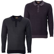 Mens Knitted Long Sleeve Polo Shirt buttoned Collared Top by Gabicci Sizes S-XXL