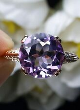 Natural Amethyst Sterling Silver & Rose Gold Deco Filigree Ring Size ({Any/MTO})