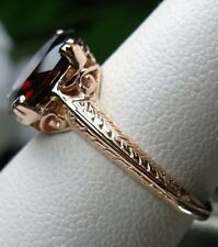 Natural 3.8ct Red Garnet 14k Solid Rose Gold Deco Filigree Ring size: Any/MTO