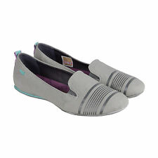 Cushe Alanah Womens Grey Textile Casual Dress Slip On Flats Shoes