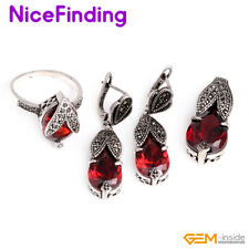 Fashion Women Jewelry Sets Charm Pendant Earrings Rings Tibetan Silver Plated