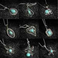 Sexy Women Fashion Tibetan Silver Turquoise Bib Crystal Pendant Long Necklace FT