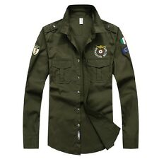 Men's Army Tactical Military Epaulet Casual Shirts Button Down Shirt Long Sleeve