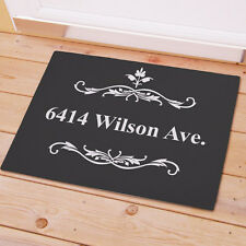 Personalized Filigree Doormat Family Name Custom Print Doormat Welcome Door Mat