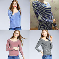 Fashion V/Round Collar Stripe Pattern Simple Style Women Tops Long Sleeve Blouse
