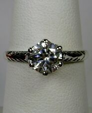 Victorian Wedding White Gem Solid Sterling Silver Filigree Ring Size: Any/MTO