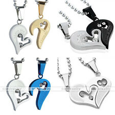 Set Stainless Steel Couple Lover Crystal Puzzle Heart Pendant Men Women Necklace