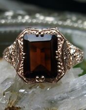 Natural 2.4ct Red Garnet Solid 14k Rose Gold Floral Filigree Ring Size: MTO/Any
