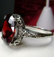 5ct Oval *Garnet* Sterling Silver Victorian/Edwardian Filigree Ring Size Any/MTO