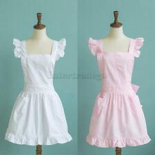Victorian Style Pinafore Apron Maid Lace Smock Costume Ruffle Pockets White/Pink