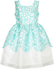 Flower Girl Dress Damask Jacquard Organza Tulle Wedding Pageant Size 4-10 Formal
