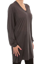 Rick Owens Woman new original Long Sleeves grey silk T-shirt  Made in Itlay