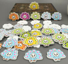 Free Mixed Color mascot Peacock Painting Wood Buttons Sewing scrapbook 33mm
